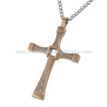 Ювелирные изделия завод mens розовое золото ожерелья CZ алмаз крест подвеска