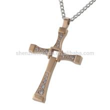 Schmucksache Fabrik Männer Roségold Halsketten CZ Diamant Kreuz Anhänger