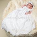 Vestido de bautizo largo de encaje blanco de encaje Vintage que fluye Vestido de bautismo de Soutache Vestido de bebé niña vestido patrones