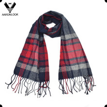 Men′s Woven Stripe Scarf with Fringes
