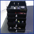 Five Layers Acrylic Black Cosmetic Organizer with Four Drawers