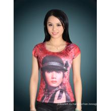 Женщин тонкий Fit моды цвета хлопка печатных футболку