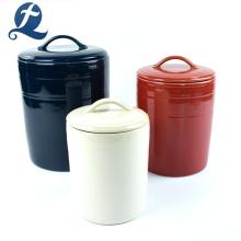 Colorido de frascos de armazenamento de doces de cerâmica com tampa