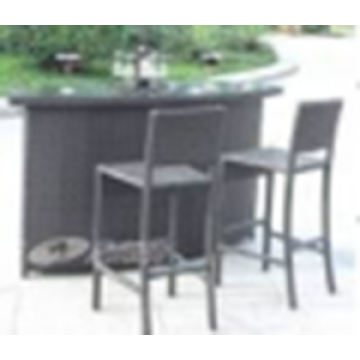 Wicker Dining bar table et chaises