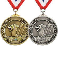 Low Price New Design Custom Personalized 3D Embosses Dragon Die Casting Gold Plated Finisher Metal Award Medal