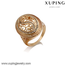 14411 Fashion jewelry copper alloy zircon ring 18k gold color luxury ring for girls