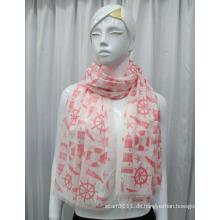 Lady Fashion Segeln gedruckt Voile Seidenschal (YKY1084)