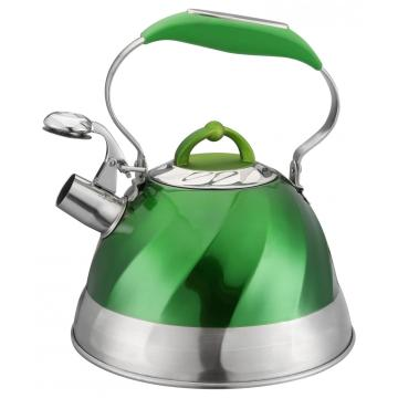 Bouilloire à sifflet en acier inoxydable peint en vert
