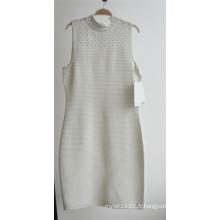Ladies 100% Acrylique Ottoman Knit sans manches Zipper Sweater Robe
