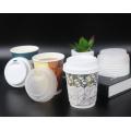 Tasse de thé d'emballage biodégradable jetable CHAUDE 12 oz tasses de papier de tasse de café respectueuses de l'environnement personnalisées