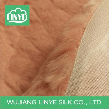 fleece embossed faux fur fabric / winter coat fabric / cushion cover fabric