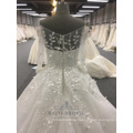 Ivory 3d Flower Elegant Hand Made Ball Gown V-neck Long Sleeves Wedding Dress