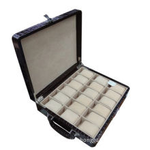 PU Leather watch carrying box, 18 grids with coded lock, portable for big men's watches