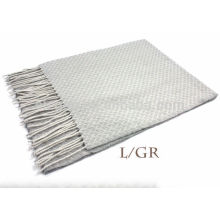Pure Grey plain color textured wool scarf with fringe