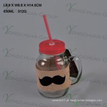 600ml claro com alça de vidro Mason Jars para venda