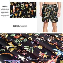 Blumen-Design aus gebürstetem Beach Shorts Druckstoff / Casual Kleidung Stoff