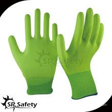 SRSAFETY 13 gauge hi-viz yellow nylon coated PU on palm gloves/pu coating working glove