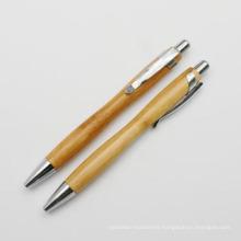 Retractable Wooden Bamboo Pen with Clip (XL-11207)
