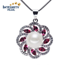 925 Silver Unique Pearl Pendant 9-10mm AAA Button Freshwater Pearl Pendant Necklace
