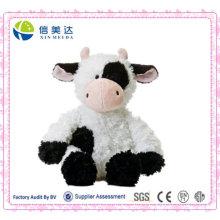 Realista Styling Plush Cow Cow Sentado / Logotipo Personalizado