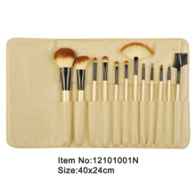 12pcs golden plastic handle animal/nylon hair makeup brush kit with golden satin case