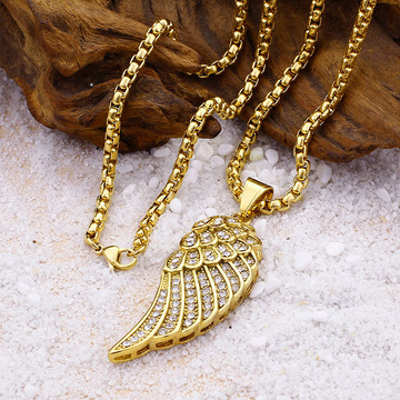 Punk Iced Out Mens Gold Angel Wing Necklace