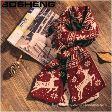 Women′s Christmas Winter Multi-Color Patterned Reversible Knit Wool Scarf