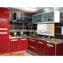 China fábrica preço aço inoxidável modular barato armário de cozinha / metal moderno armários de cozinha design