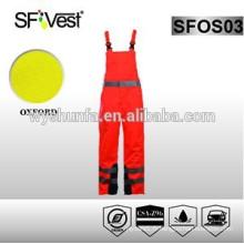 Vêtements de travail de haute qualité combinaisons orange avec 100% polyester 300D oxford pu enduit selon EN ISO 20471 et ANSI / ISEA 107