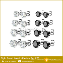 5mm 6mm 316L Stainless Steel Prong Set Round Clear Black Cubic Zirconia Earring Studs