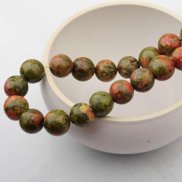 14MM Loose natural Gemstone Unakite Round Beads for Making jewelry