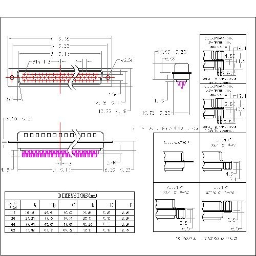 MHDB01-MXXXX D-SUB MALE High density Solder type Machine Pin
