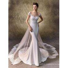 Vestido de noiva nupcial elegante cetim sereia