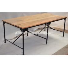 Industrial Metal Dining Table Folding Mango Wood Top