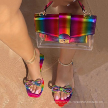 Hot sale Rainbow Flip-Flops slippers bags and shoes for women shoes and bag sets