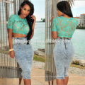 2017 Wholesale Women Gold Lace Applique Summer Mini Bodycon Dress