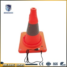 portable and rechargeable reflective telescopic road cone