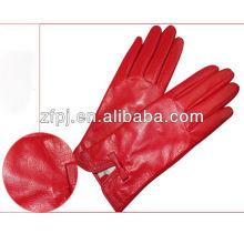ZF vermelho brilhante barato cabretta luvas de couro de golfe