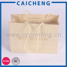 Saco de presente de compras de papel impresso de luxo com corda de algodão