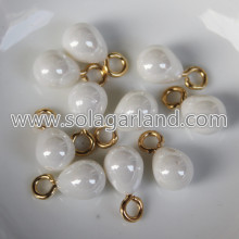 8*10MM Acrylic Faux Pearl Teardrop Pendants With Silver Loop