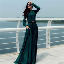 Женщины с длинным рукавом плюс размер Maxi платье (платье 146)