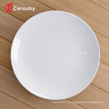 Plato de cerámica de cerámica blanca de pequeño pedido para el restaurante