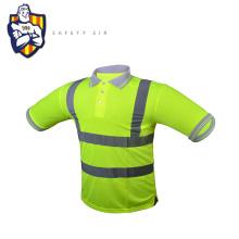 Polyester /cotton high visibility safety reflective polo t-shirt