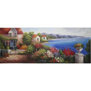 Pintura al óleo mediterránea hecha a mano del arte de la pared en la lona para la decoración casera (XD1-272)