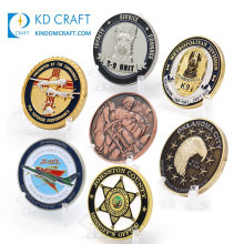 Made in China Cheap Custom Metal Zinc Alloy Die Casting Embossed 3D Double Sided Enamel Security Air Force Sheriff Star Army Military Challenge Coins