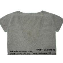 Kaschmir Farbe Natürliche Pullover BV Kurzarm