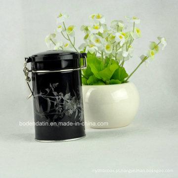 Caixa de estanho de embalagens de chá à prova de ar redonda personalizada com fecho de arame