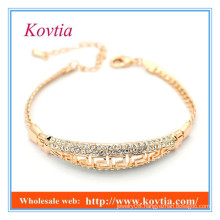 Fashion fine jewelry pave crystal gold bracelet 18k