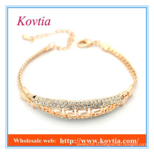Мода тонкой ювелирной проложить кристалл золотой браслет 18k