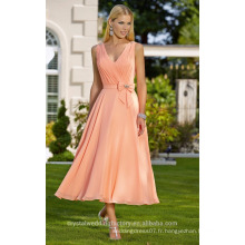 Vente en gros de bonne qualité élégante nouvelle manche en mousseline de soie en mousseline de soie courte ligne de robes de demoiselle d'honneur LBS13